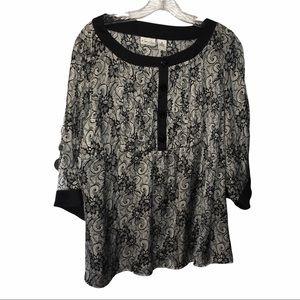 3/$21 Kim Rogers Black/White Floral Print Shirt